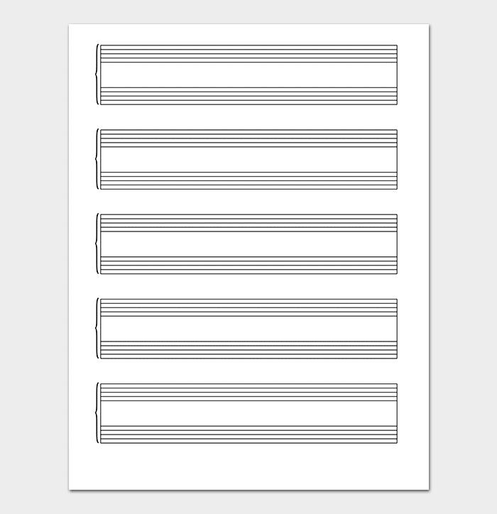 برگه کاغذ خط کشی شده برای یادداشت نت های موسیقی