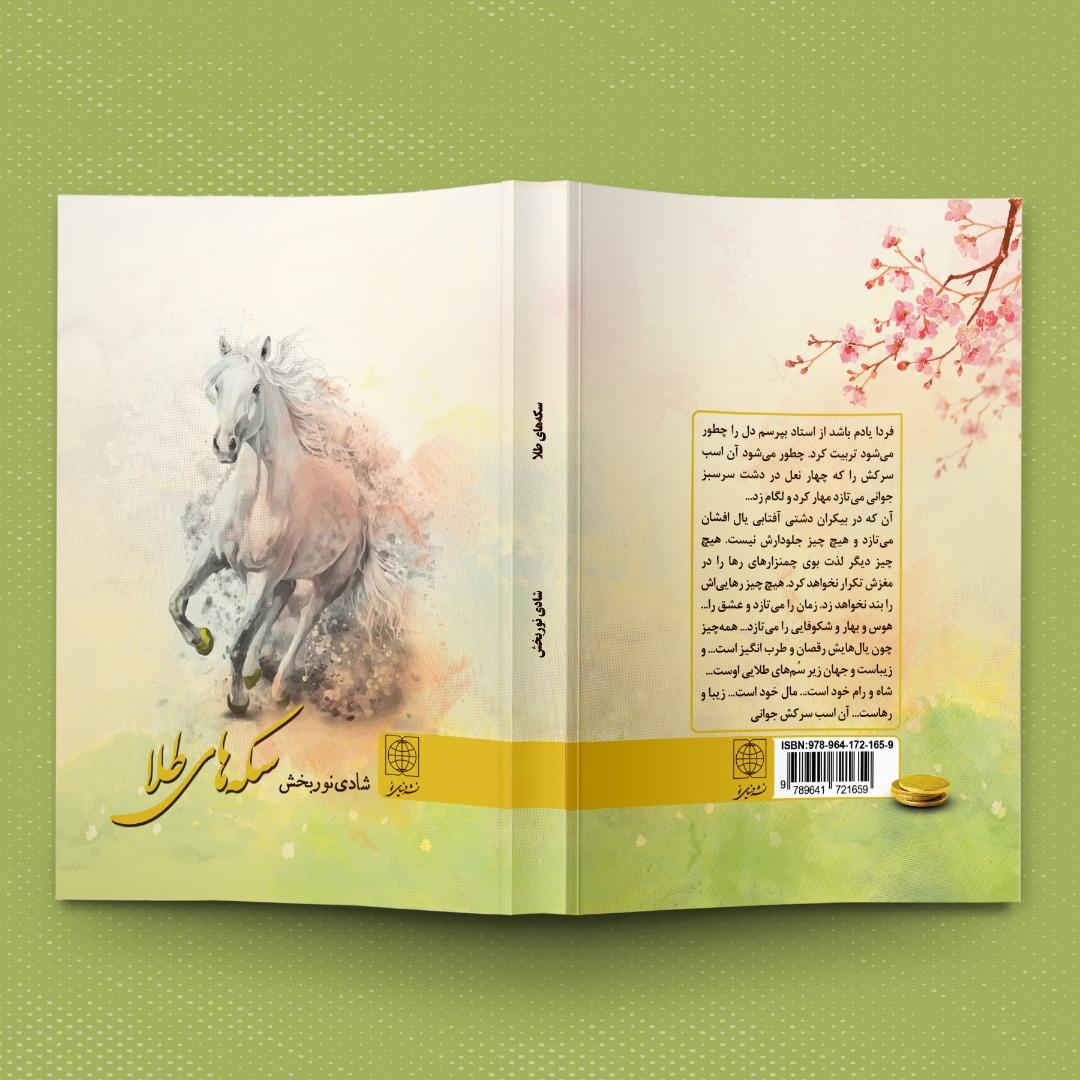 نمونه کار طراحی جلد کتاب فارسی داستانی با عنوان سکه های طلا
